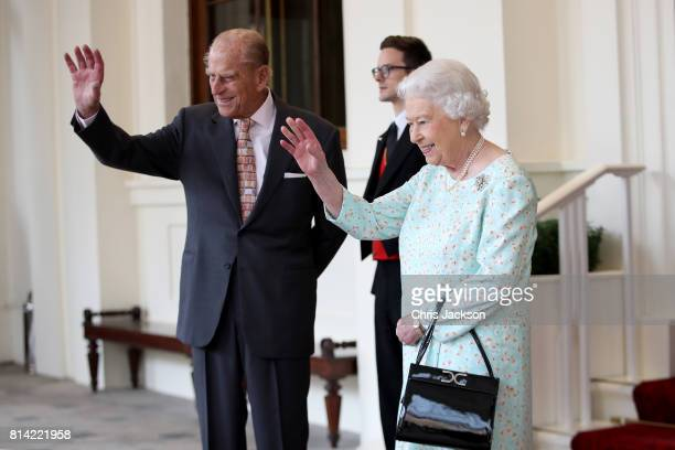 Queen Elizabeth II and Prince Philip Duke of Edinburgh are seen during a State visit by the King and Queen of Spain on July 14 2017 in London England...