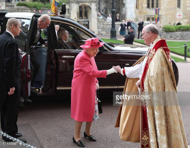 Queen Elizabeth II and Prince Philip Duke of Edinburgh arrive ahead of the wedding of Lady Gabriella Windsor and Thomas Kingston at St George's...