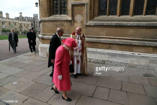 Queen Elizabeth II and Prince Philip Duke of Edinburgh arrive ahead of the wedding of Lady Gabriella Windsor and Thomas Kingston at St George's...