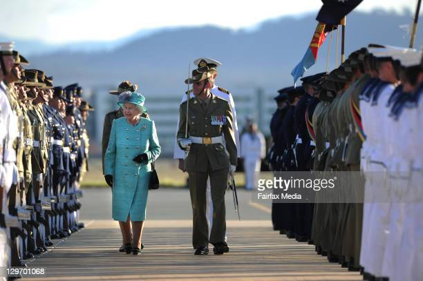 Queen Elizabeth II and Prince Philip, Duke of Edinburgh, arrive at Fairbairnon October 19, 2011 in Canberra, Australia. The Queen and Duke of...