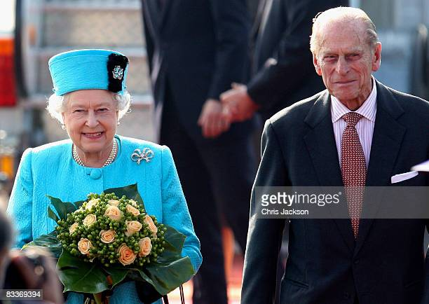 Queen Elizabeth II and Prince Philip Duke of Edinburgh arrive at Joze Pucnik airport on the first day of a two day tour of Slovenia on October 21...
