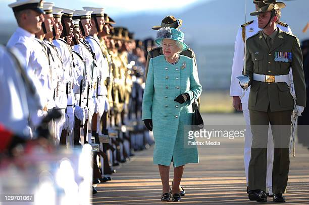Queen Elizabeth II and Prince Philip, Duke of Edinburgh, arrive at Fairbairn on October 19, 2011 in Canberra, Australia. The Queen and Duke of...