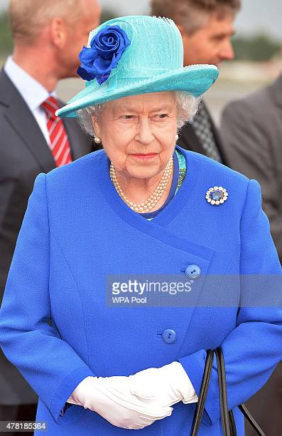 Queen Elizabeth II and Prince Philip Duke of Edinburgh arrive at Tegel airport on the first of their fourday visit to Germany on June 23 2015 in...