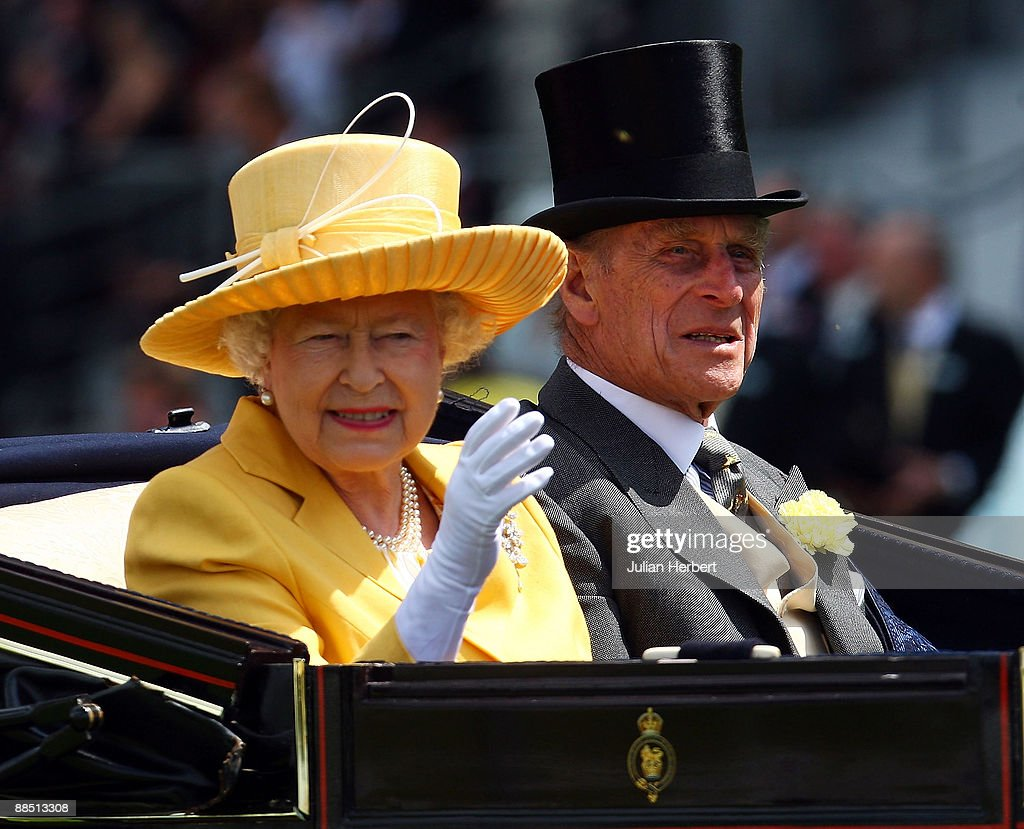 Queen Elizabeth II and Prince Philip, Duke of Edinburgh arrive at Ascot Racecourse on the 1st Day of The Royal Meeting at Ascot Racecourse on June 16, 2009 in Ascot, England.