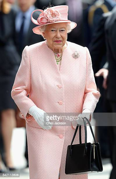 Queen Elizabeth II and Prince Philip Duke of Edinburgh arrive at Liverpool Lime Street Station on June 22 2016 in Liverpool England