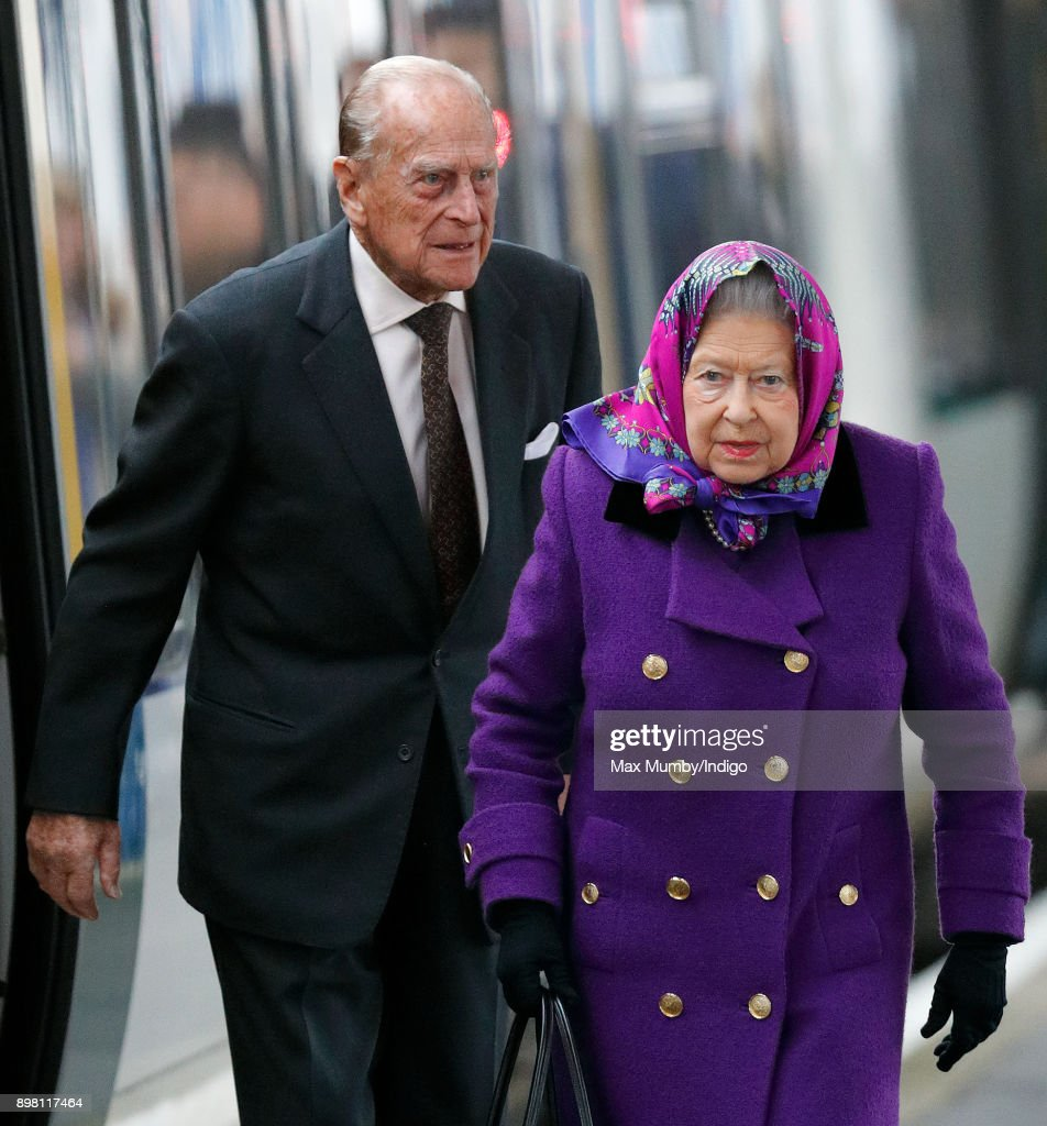 Queen Elizabeth II and Prince Philip, Duke of Edinburgh arrive at King's Lynn station, after taking the train from London King's Cross, to begin their Christmas break at Sandringham House on December 21, 2017 in King's Lynn, England.