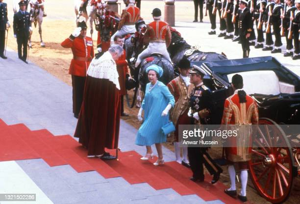 Queen Elizabeth II and Prince Philip, Duke of Edinburgh arrive at St. Paul's Cathedral to attend the wedding of their son, Prince Charles, Prince of...