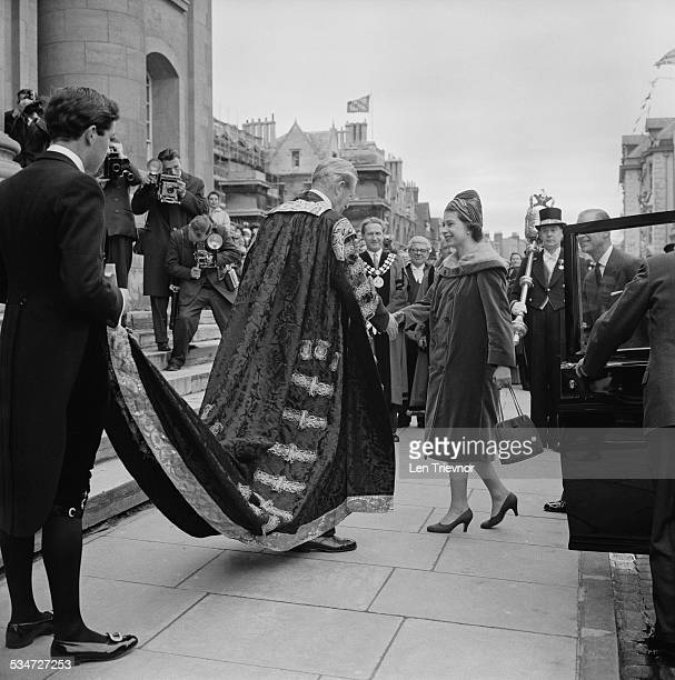 Queen Elizabeth II and Prince Philip Duke of Edinburgh arrive at St Catherine's College to lay a foundation stone Oxford 1960