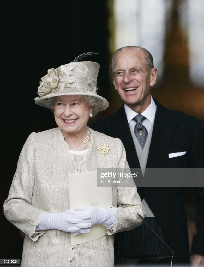 Queen Elizabeth II and Prince Philip, Duke of Edinburgh arrive at St Paul's Cathedral for a service of thanksgiving held in honour of the Queen's 80th birthday, June 15, 2006 in London, England.