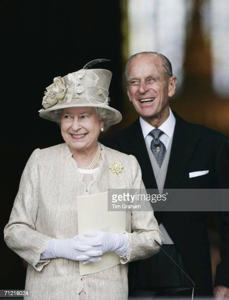 Queen Elizabeth II and Prince Philip, Duke of Edinburgh arrive at St Paul's Cathedral for a service of thanksgiving held in honour of the Queen's...