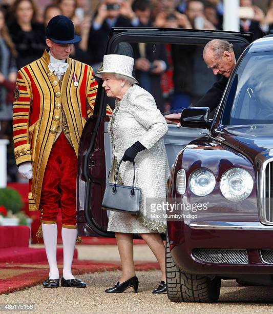 Queen Elizabeth II and Prince Philip Duke of Edinburgh arrive at the Ceremonial Welcome for Mexican President Enrique Pena Nieto at Horse Guards...