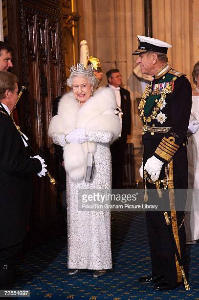 Queen Elizabeth II and Prince Philip Duke of Edinburgh arrive at the House of Lords for the State Opening of Parliament on November 15 2006 in London...