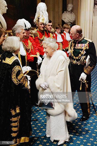 Queen Elizabeth II and Prince Philip Duke of Edinburgh arrive at the House of Lords for the State Opening of Parliament on November 6 2007 in London...