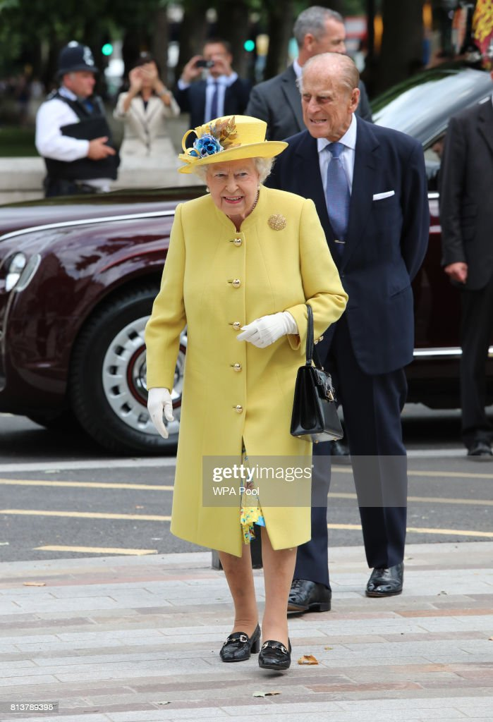 Queen Elizabeth II and Prince Philip, Duke of Edinburgh arrive at the opening of the the new headquaters of the Metropolitan Police Service on July 13, 2017 in London, England.