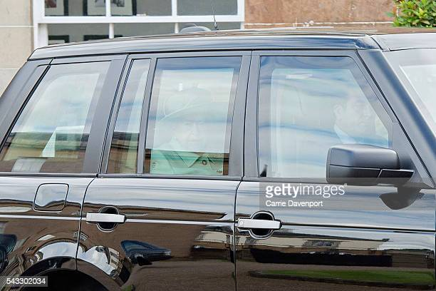 Queen Elizabeth II and Prince Philip Duke of Edinburgh arrive for a visit to Hillsborough Castle on June 27 2016 in Belfast Northern Ireland