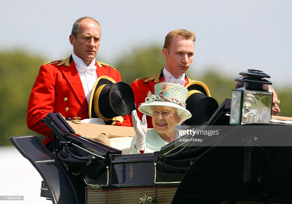 Queen Elizabeth II and Prince Philip, Duke of Edinburgh arrive for day one of Royal Ascot at Ascot racecourse on June 14, 2011 in Ascot, England.