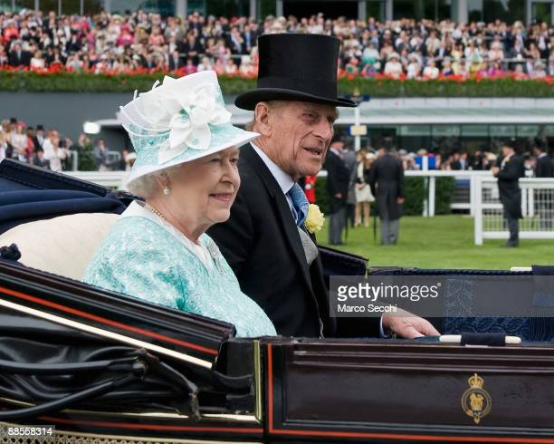 Queen Elizabeth II and Prince Philip Duke of Edinburgh arrive for Ladies Day at Ascot Racecourse on June 18 2009 in Ascot England