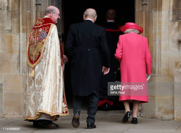 Queen Elizabeth II and Prince Philip Duke of Edinburgh arrive for the wedding of Lady Gabriella Windsor and Thomas Kingston at St George's Chapel...