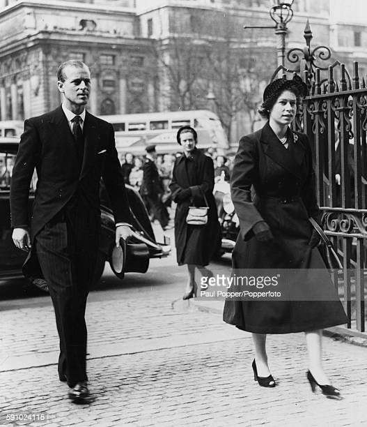 Queen Elizabeth II and Prince Philip Duke of Edinburgh arrive for the first public engagement of her reign a Maundy Service at Westminster Abbey...