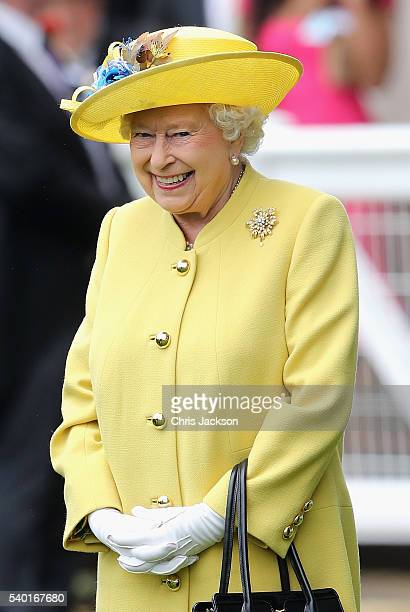 Queen Elizabeth II and Prince Philip Duke of Edinburgh arrive in the parade ring at Royal Ascot 2016 at Ascot Racecourse on June 14 2016 in Ascot...