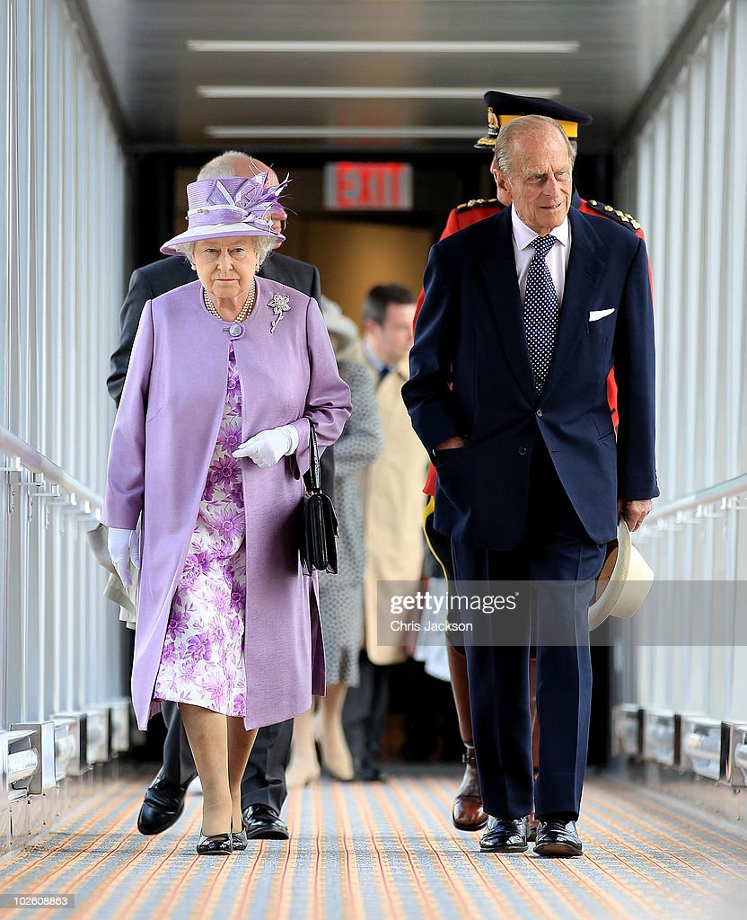 Queen Elizabeth II and Prince Philip, Duke of Edinburgh arrive through a terminal air-bridge from the Royal Plane at the new James Armstrong Richardson International airport on July 3, 2010 in Winnipeg, Canada. The Queen and Duke of Edinburgh are on an eight day tour of Canada starting in Halifax and finishing in Toronto. The trip is to celebrate the centenary of the Canadian Navy and to mark Canada Day. On July 6th The royal couple will make their way to New York where the Queen will address the UN and visit Ground Zero.
