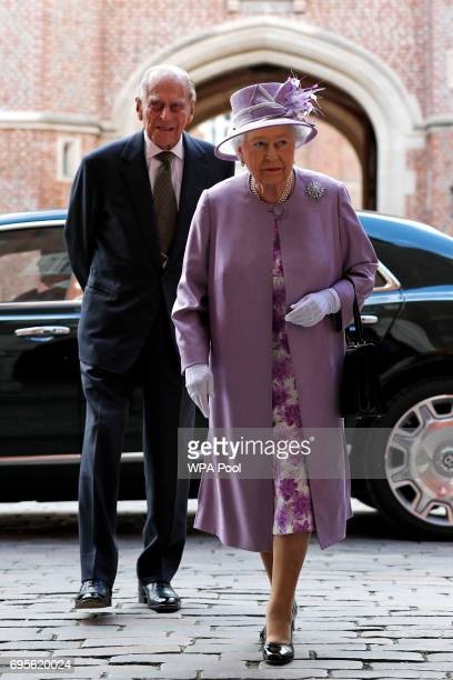 Queen Elizabeth II and Prince Philip Duke of Edinburgh arrive to attend Evensong in celebration of the centenary of the Order of the Companions of...