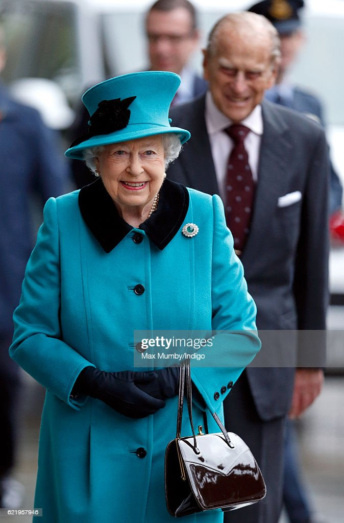 Queen Elizabeth II and Prince Philip, Duke of Edinburgh arrive to open the Francis Crick Institute on November 9, 2016 in London, England. The Francis Crick Institute will be a world leading centre of biomedical research.