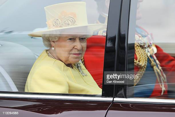 Queen Elizabeth II and Prince Philip, Duke of Edinburgh arrive to attend the Royal Wedding of Prince William to Catherine Middleton at Westminster...