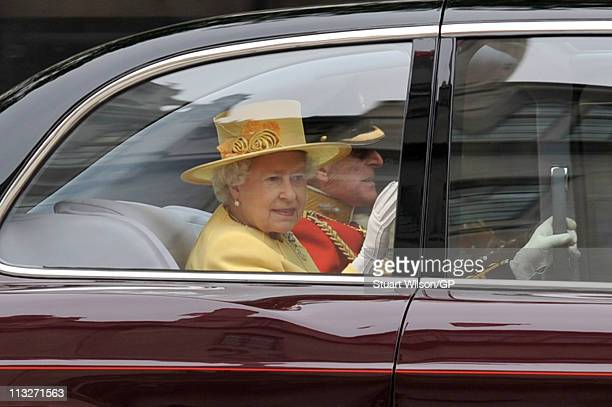 Queen Elizabeth II and Prince Philip Duke of Edinburgh arrive to attend the Royal Wedding of Prince William to Catherine Middleton at Westminster...