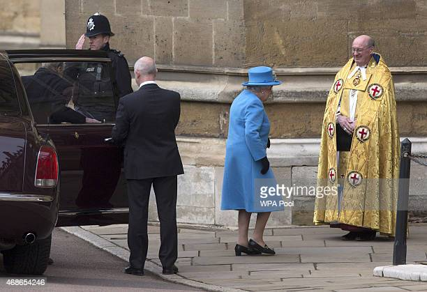 Queen Elizabeth II and Prince Philip Duke of Edinburgh arrive to attend the Easter Sunday service at St George's Chapel at Windsor Castle on April 5...