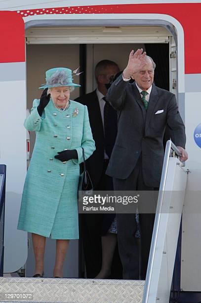 Queen Elizabeth II and Prince Philip, Duke of Edinburgh arrived in Canberra at Defence Establishment Fairbairn on October 19, 2011 in Canberra,...
