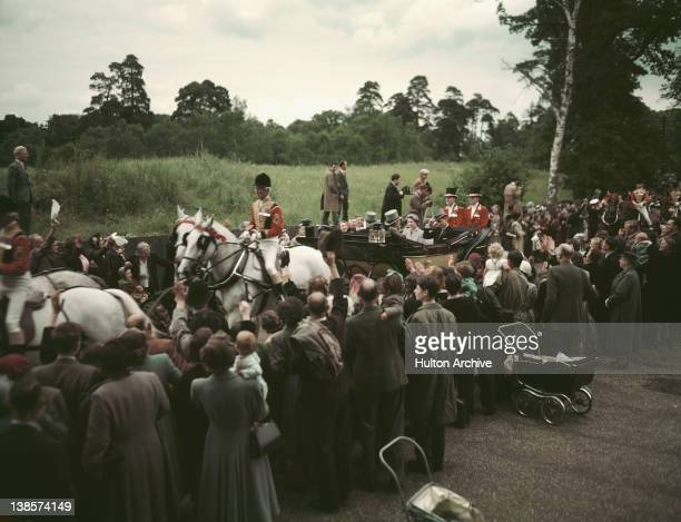 Queen Elizabeth II and Prince Philip Duke of Edinburgh arriving at Ascot in an open carriage 1953