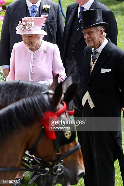 Queen Elizabeth II and Prince Philip Duke of Edinburgh arriving at Royal Ascot Race Course on June 15 2016 in Ascot England