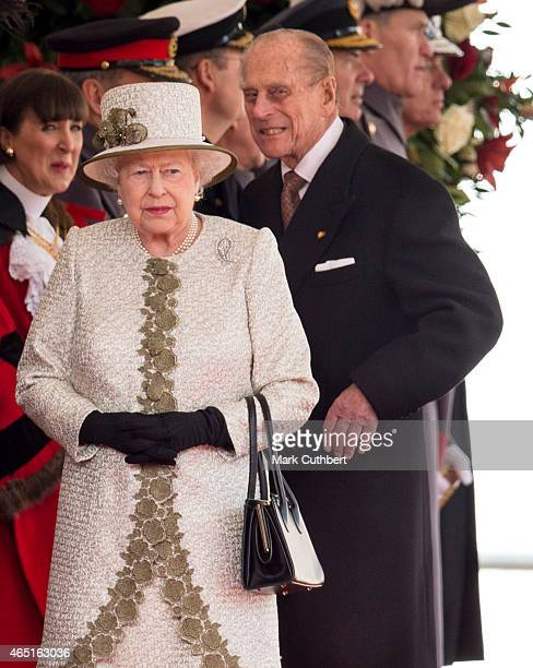 Queen Elizabeth II and Prince Philip, Duke of Edinburgh at a ceremonial welcome for the State Visit of The President of The United Mexican, Senor...