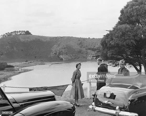 Queen Elizabeth II and Prince Philip Duke of Edinburgh at Mark's LookOut near Mount Gambier Lakes in Victoria during their Australian Tour
