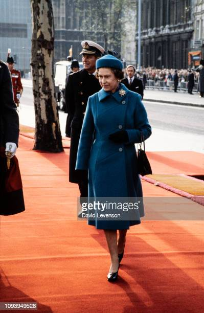 Queen Elizabeth II and Prince Philip Duke of Edinburgh at the arrival of Queen Beatrix of Holland on November 16 1982 at Westminster Pier in London...