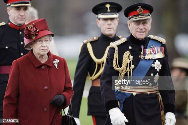 Queen Elizabeth II and Prince Philip, Duke of Edinburgh at the Sovereign's Parade at Sandhurst Military Academy where Prince William will be...