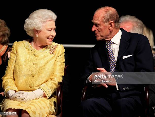 Queen Elizabeth II and Prince Philip Duke of Edinburgh attend a reception for A Celebration of Novia Scotia at the Cunard Centre on June 29 2010 in...