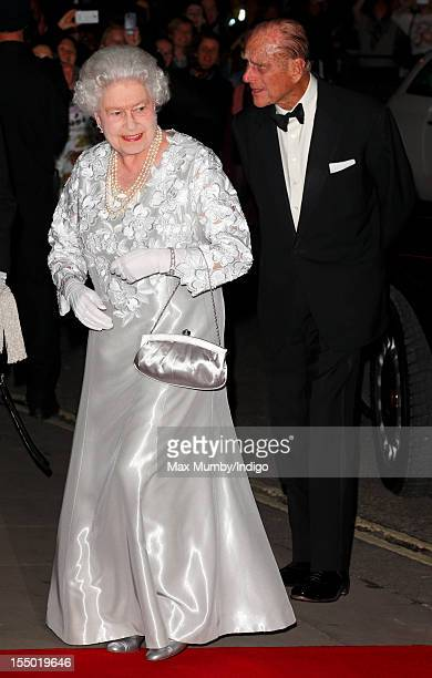 Queen Elizabeth II and Prince Philip Duke of Edinburgh attend a gala performance of 'Our Extraordinary World' at The Royal Opera House on October 30...