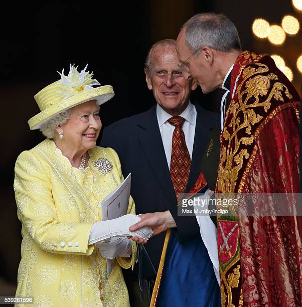 Queen Elizabeth II and Prince Philip Duke of Edinburgh attend a national service of thanksgiving to mark her 90th birthday at St Paul's Cathedral on...