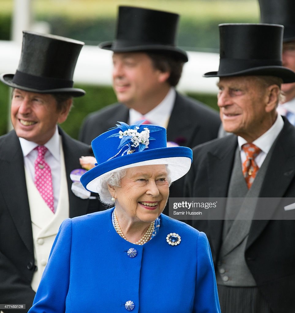 Queen Elizabeth II and Prince Philip, Duke of Edinburgh (R) attend day 2 of Royal Ascot at Ascot Racecourse on June 17, 2015 in Ascot, England.