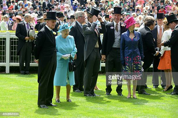 Queen Elizabeth II and Prince Philip Duke of Edinburgh attend day three of Royal Ascot at Ascot Racecourse on June 19 2014 in Ascot England