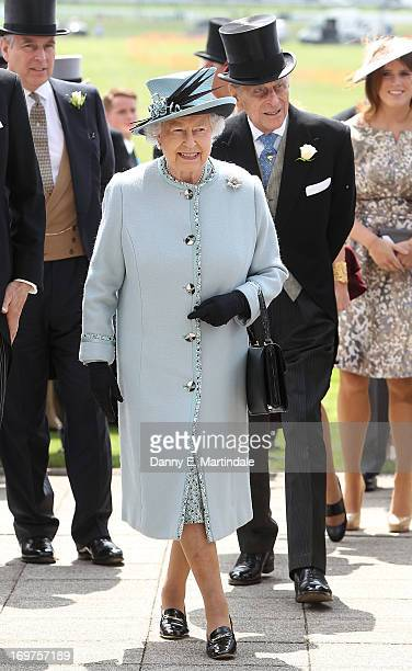 Queen Elizabeth II and Prince Philip, Duke of Edinburgh attend Derby Day at The Derby Festival on June 1, 2013 in Epsom, United Kingdom.