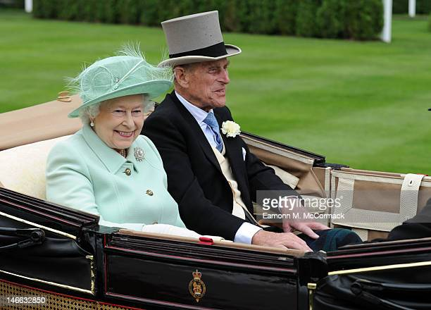 Queen Elizabeth II and Prince Philip Duke of Edinburgh attend Ladies Day at Royal Ascot at Ascot Racecourse on June 21 2012 in Ascot England