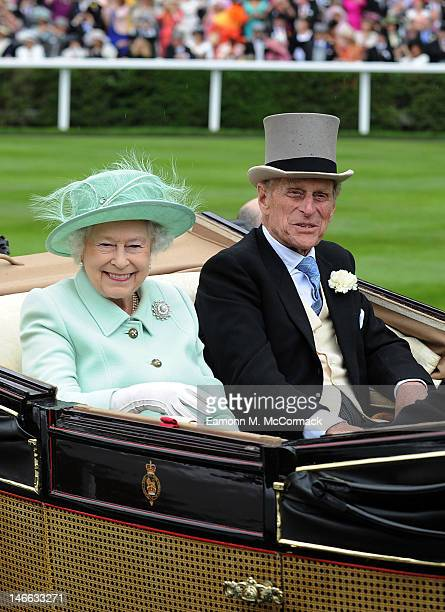 Queen Elizabeth II and Prince Philip, Duke of Edinburgh attend Ladies Day at Royal Ascot at Ascot Racecourse on June 21, 2012 in Ascot, England.