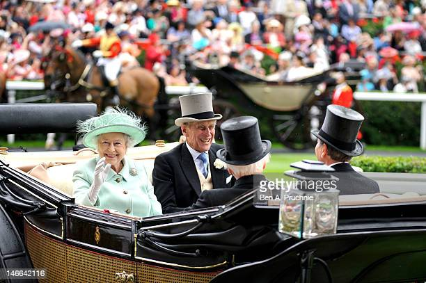 Queen Elizabeth II and Prince Philip Duke of Edinburgh attend Ladies Day on day three of Royal Ascot at Ascot Racecourse on June 21 2012 in Ascot...
