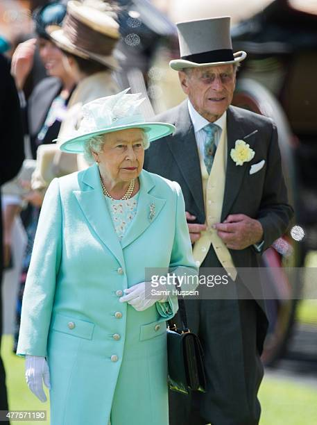 Queen Elizabeth II and Prince Philip, Duke of Edinburgh attend Ladies Day on day 3 of Royal Ascot at Ascot Racecourse on June 18, 2015 in Ascot,...