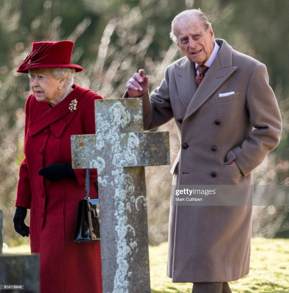 Queen Elizabeth II and Prince Philip, Duke of Edinburgh attend Sunday Service at St Peter and St Paul Church in West Newton on February 4, 2018 in King's Lynn, United Kingdom.