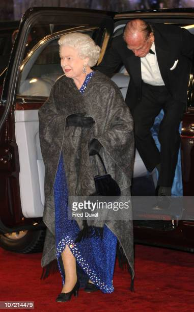 Queen Elizabeth II and Prince Philip, Duke of Edinburgh attend the royal premiere of 'The Chronicles Of Narnia: The Voyage Of The Dawn Treader' at...
