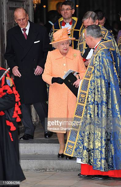 Queen Elizabeth II and Prince Philip Duke of Edinburgh attend the Commonwealth Observance Service at Westminster Abbey on March 14 2011 in London...